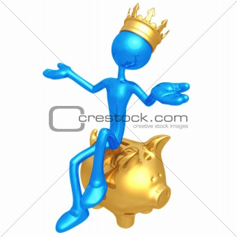 King Sitting On Piggy Bank