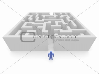 Man in front of labyrinth