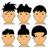 6 Cute Caucasian Kids Vector Illustration