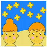 Boy and Girl Durring Summer Time Illustration Vector
