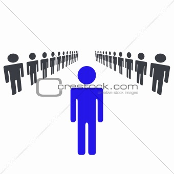 One Man Or Woman Being Leader and Standing Out Of Crowd and Taking Charge