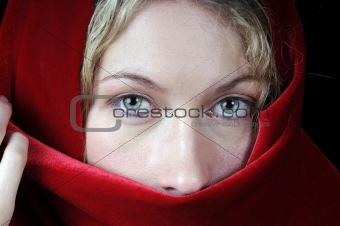 Beautiful blond woman in closeup