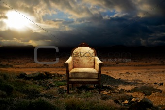 Throne in desolate rocky desert