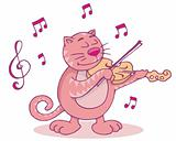 Pink cat with violin