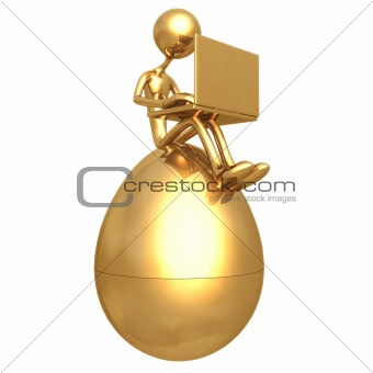 Sitting On Gold Nest Egg With Laptop