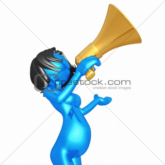 Pregnant Woman Shouting In Megaphone