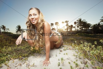 Beautiful woman in the dunes