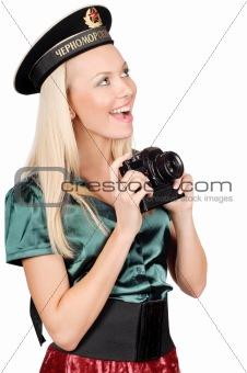 blond marine girl with camera