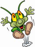 Happy Green Bug - jumping