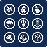 Seasons: Autumn 9 icons (set 4, part 2)