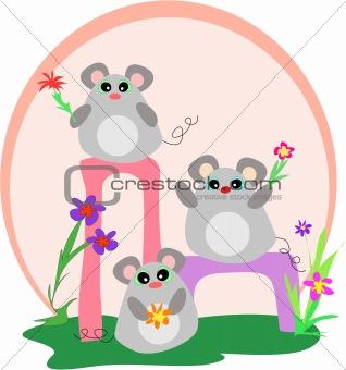 Three Mice who Love Flowers