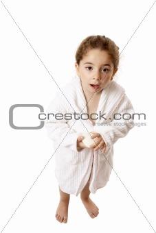 Little girl ready for shower or bath