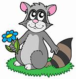 Cartoon racoon with flower