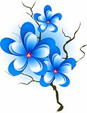 Branch with blue flowers