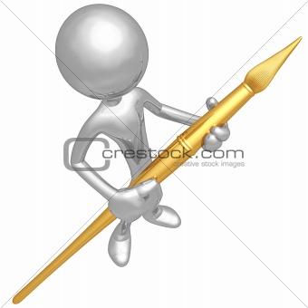 Artist Holding Paintbrush