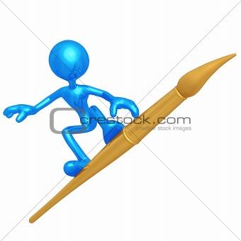 Artist Surfing On Paintbrush