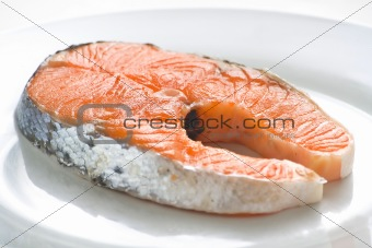 slice of fresh salmon and healthy