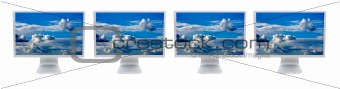 Four LCD computer monitor
