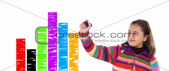 Adorable child drawing a colorful graphic