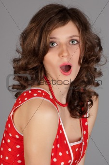 beautiful women in red dress