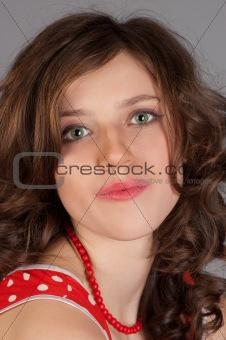 beautiful women in red dress.