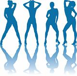 Dancing nudes girls silhouettes