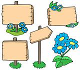 Wooden tables with flowers collection