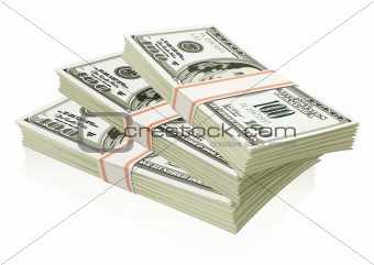 Packs of dollars money isolated