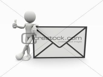 3d man with a big envelope