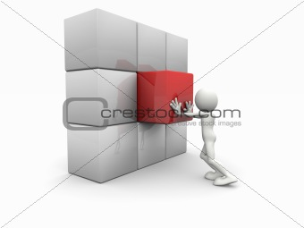 3d man and a cube wall