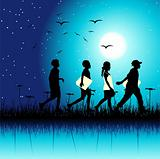 Children group on nature, night scene