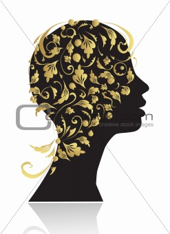 Beautiful woman, head silhouette for your design