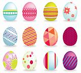 Set of 12 vector icon easter eggs