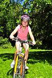 Teenage girl on a bicycle