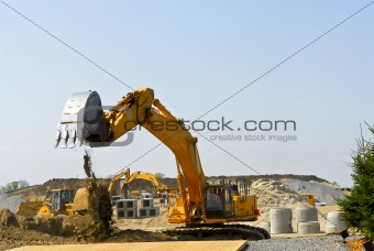 Construction site machines