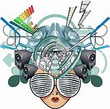 Media head abstract illustration