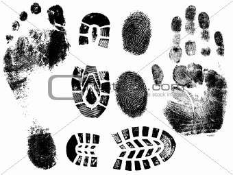 Single black fingerprint - simple monochrome image
