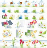 Flower theme glossy icon set