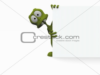 3D cartoon alien with a blank sign
