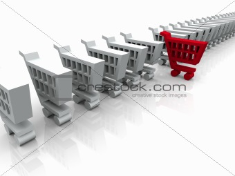 3D White and Red Cart Symbol