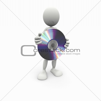 3D white man with a CD