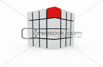 3d individuality red cube