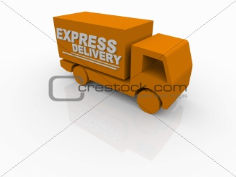 3D White Express Delivery Van