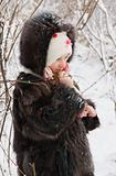 little girl on the snow