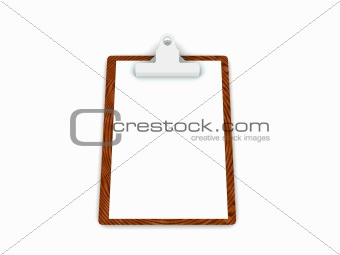 3d clipboard with blank page