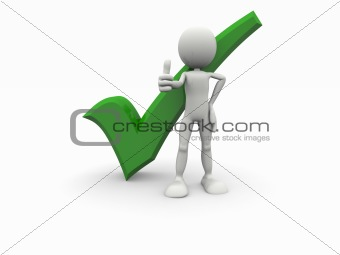 3d cartoon man with positive green symbol