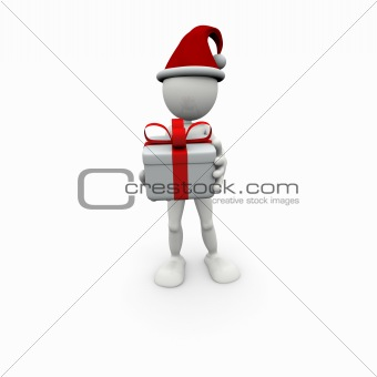 3D white man with gift box