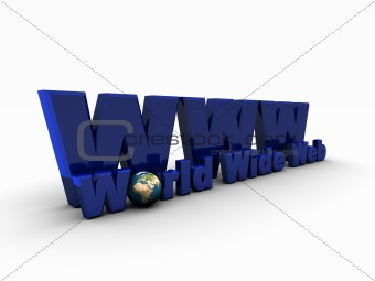 3D Blue WWW Symbol