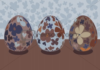 Three decorative Easter eggs
