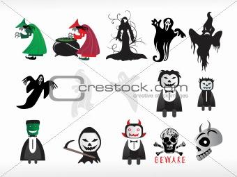 abstract halloween icon series set4